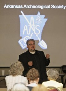 Jamie Brandon gives a talk about the Arkansas Archeological Society's Summer Training Program in El Dorado, AR in 2011.