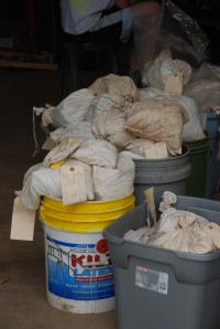 Artifacts bags filled and waiting processing in the field lab at 2007 Jones Mill excavations