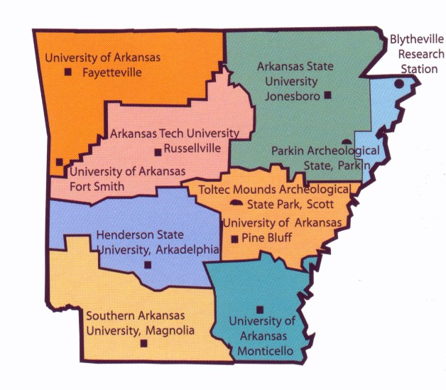 The research territories of the 12 Arkansas Archeological Survey Research Stations.
