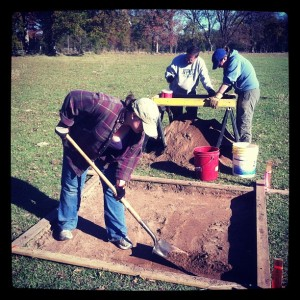 Arkansas Archeological Society volunteers digging at Dooley's Ferry last fall.