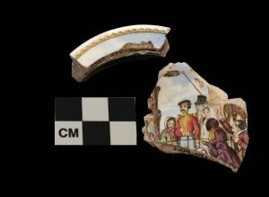 The polychrome hand-painted over transfer print pot lid Recovered from the Royston detached kitchen.