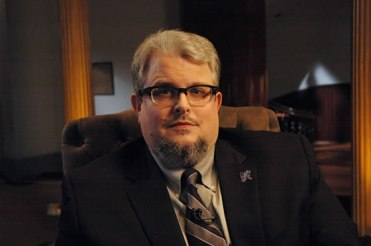 """Dr. Brandon in a promotional still from the AETN documentary """"Sesquicentennial CW150: Remembering the Civil War in Arkansas."""""""